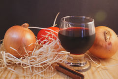 Contrast of still life and a glass of wine royalty free stock images
