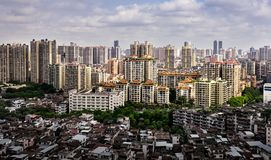Contrast view of many high-end enterprises such as finance, insurance, real estate and Congestion, Guangzhou city, China. Contrast view of many high end stock photo