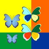 Illustration of butterflies in contrasting color Stock Photo