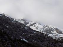 Contraste de la roca, de nubes y de la nieve imágenes de archivo libres de regalías