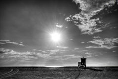 Contrasted beach scene in B&W Stock Photos