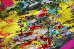 Contrastes borrosos de oro amarillos azules rosados, fondo creativo de la pintura cerosa Imagen de archivo libre de regalías