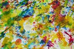 Contrastes borrosos de oro azules rojos, fondo creativo de la pintura cerosa Imagen de archivo