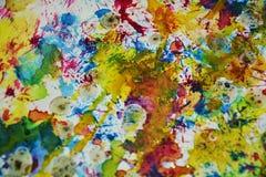 Contrastes borrosos de oro del verde azul, fondo creativo de la pintura cerosa Foto de archivo libre de regalías