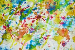 Contrastes borrosos de oro rojos del verde azul, fondo creativo de la pintura cerosa Imagen de archivo