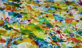 Contrastes borrosos de oro rojos del verde azul, fondo creativo de la pintura cerosa Fotografía de archivo libre de regalías