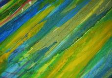 Contrastes boueux phosphorescents de vert bleu, fond créatif d'aquarelle de peinture Image libre de droits