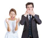 Contrastes da emoção do casal Imagens de Stock Royalty Free
