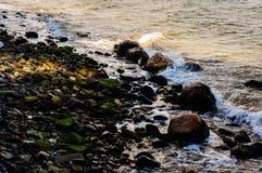 Contrastes rocosos del detalle de la textura de la línea de la playa Foto de archivo