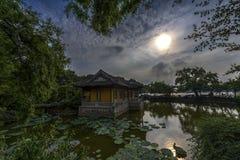 Contrasti della luce ad un giardino cinese classico fotografia stock