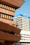 Contrasting building styles, Kampala, Uganda. Contrasting architectural styles, Cham Towers in the foreground and Tecno building behind, Kampala, Uganda Royalty Free Stock Images