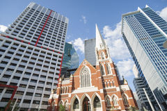Contrasting architecture in Brisbane. Royalty Free Stock Image
