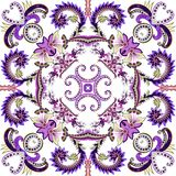 Contrasting bandanna with dark purple curls, small flowers. Contrasting bandanna with dark purple curls, yellow purple flowers, decorative elements Royalty Free Stock Images