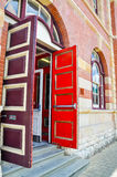 Contrasting Doors: Architectural Accent Stock Photography