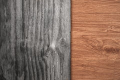 Contrasting old and new wood textures Royalty Free Stock Photos