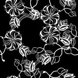 Contrasting pattern. Contrasting floral pattern on black Royalty Free Stock Photography