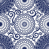 Contrasting seamless pattern with large flowers and curls. Royalty Free Stock Photo