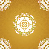 Contrasting seamless pattern with large flowers, curls and leaves. White lace ornament on a gold background. It can be used for wallpaper, pattern fills, web Stock Image