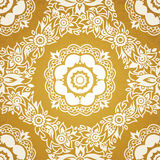 Contrasting seamless pattern with large flowers, curls and leaves. White lace ornament on a gold background. It can be used for wallpaper, pattern fills, web Stock Images