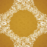 Contrasting seamless pattern with small flowers, curls and leaves. White lace ornament on a gold background. It can be used for wallpaper, pattern fills, web Stock Image