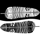 Black and white feathers. Contrasting ying yang black and wihte ethnic feathers Stock Photography