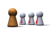 Contrasts. Play figures businessmen and woodman Royalty Free Stock Photo