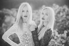 Contrasts and opposites concept. Dualism and dualistic nature. Beauty and fashion. Sisters twins posing on natural landscape. Two women with red lips and long royalty free stock images