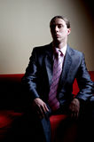 Contrasty portrait of handsome serious man. On sofa Stock Image