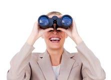 Contrat à terme de prévision de femme d'affaires joyeuse Image stock