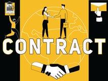 Contrat créatif et personnes de concept de Word faisant des choses illustration de vecteur
