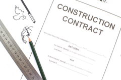 Contrat de construction Photo stock