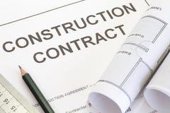 Contrat de construction Photographie stock