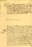 Contrat de mariage daté 1656. Image libre de droits