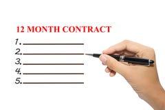contrat de 12 mois Images stock