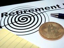 Contrat de retraite de Bitcoin image libre de droits