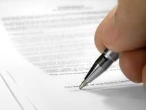 Contrat de signature Image libre de droits