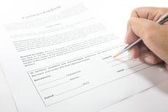 Contrat de signature Photographie stock libre de droits