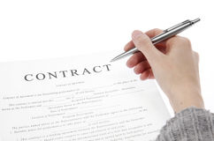 Contrat de signature Photo stock