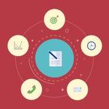 Contrat plat d'icônes, horloge, but et d'autres éléments de vecteur Ensemble d'icônes plates d'affaires Image libre de droits
