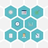 Contrat plat d'icônes, liste des tâches, calendrier et d'autres éléments de vecteur L'ensemble de Job Flat Icons Symbols Also inc Image stock