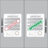 Contrat rejeté et approuvé Image libre de droits
