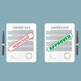 Contrat rejeté et approuvé Photographie stock