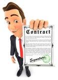 contrat signé par participation de l'homme d'affaires 3d Image libre de droits
