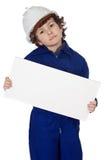 Contrat à terme fonctionnant adorable avec le panneau-réclame pour écrire le texte Photo libre de droits