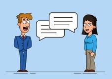 Contratan al hombre y a la mujer o a dos trabajadores a diálogo Burbujas del discurso Discusión de una idea o de un problema Reun Imágenes de archivo libres de regalías