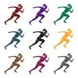 Contratan a la muchacha en atletismo Los actives en atletismo el active se divierte el solo icono en la acción negra del símbolo  Fotos de archivo