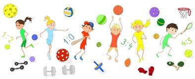 Contratan a los niños a diversos deportes conjunto Imagen de archivo