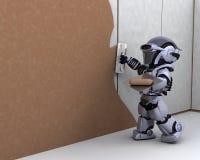 Contratante do robô que constrói um drywall Foto de Stock