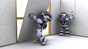Contratante do robô que constrói um drywall Imagens de Stock