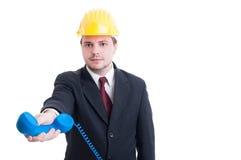 Contratante ou diretor empresarial para a empresa de construção civil que dá p Imagem de Stock